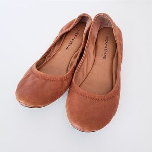 Lucky Brand Chestnut Leather Emmie Ballet Flats